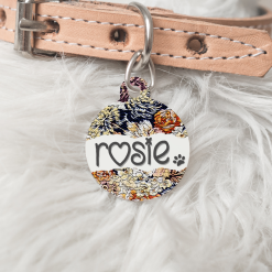 Personalised Dog Cat Pet ID Tag Double Sided Circle Dog Tag Flower