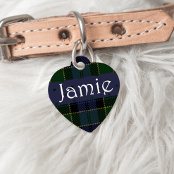 Personalised Dog Cat Pet ID Tag Double Sided Heart Shape Tartan Dog Tag