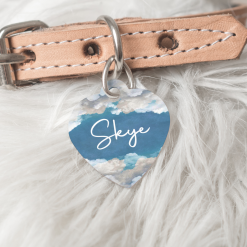 Personalised Dog Cat Pet ID Tag Double Sided Heart Shape Tag Sky