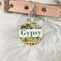 Personalised Name Dog Cat Pet ID Tag Double Sided Sunflower Circle Tag