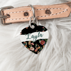 Personalised Dog Cat Pet ID Tag Double Sided Heart Shape Dog Tag Floral