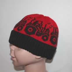 Red and Black Tractors Beanie Hat - with or without pompom - Childrens size 3-8 years