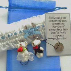 Sensuous Bride's Satin Garter Gift Set.  White
