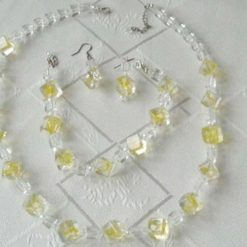 Handcrafted Necklace, Bracelet and Earring Set in Clear Cubes With Lemon Swirl