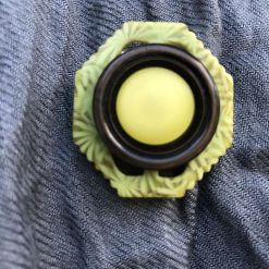 Handcrafted button and buckle green brooch.
