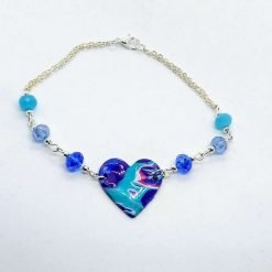 Pretty anklet with polymer clay heart and blue and aqua bead links