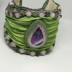 A242 Shibori silk cuff bracelet