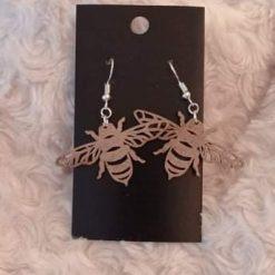 Wooden earrings Laser Cut Bee Design