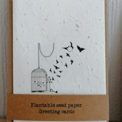 Wildflower seed paper cards | A6 recyclable | Bird cage | eco-friendly | biodegradable