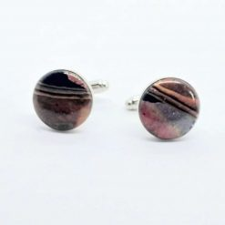 handcrafted swirly Polymer Clay Cufflinks in copper, silver, gold & black