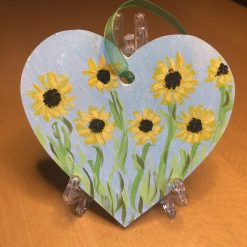Painted flowers wooden hanging hearts lavender line