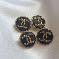 Lot Of 4 Black Chanel Metal Buttons With Crystals 20mm