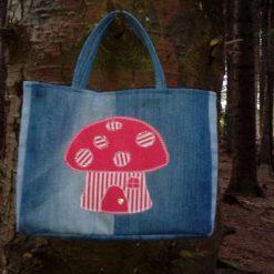OOAK Gorgeous Kids Handbag (from recycled jeans) Mushroom Fairy Door Fully Lined Bag Gift