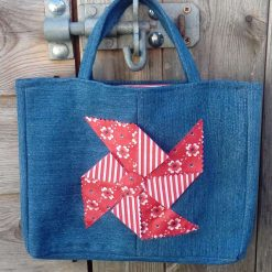 OOAK Gorgeous Kids Handbag (from recycled jeans) Red Windmill Seaside Fully Lined Bag Gift