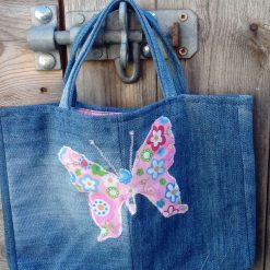 OOAK Kids Handbag (from recycled jeans) Pink Colourful Butterfly Fully Lined Bag Gift