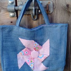 OOAK Kids Handbag (from recycled jeans) Pink Windmill Seaside Fully Lined Bag Gift