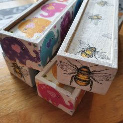 Wooden pencil box, bee design, butterfly design, elephant design,  rose design, using the art of decoupatch, handpainted wooden pen box, desk tidy box, pencil case,
