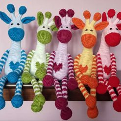 Crochet rainbow giraffes