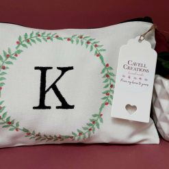 Handprinted cotton makeup bag with vine wreath and letter 'K'