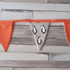 Mini bunting garland. Penguin fabric print and orange flags