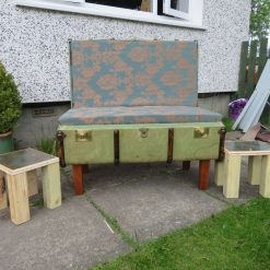 Vintage suitcase chair and 2 matching tables