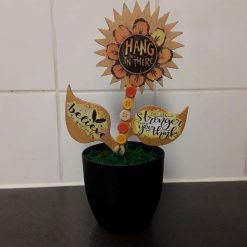 Double Sided 'Hang in there' Sunflower in a Pot
