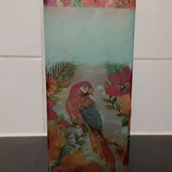 Decoupaged Parrot Tall Vase