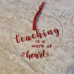 Thank you teacher hanging heart.