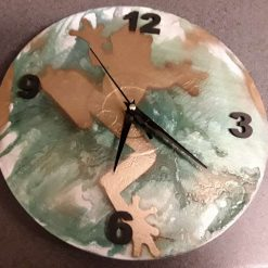 Recycled Vinyl Record Golden Frog Wall Clock