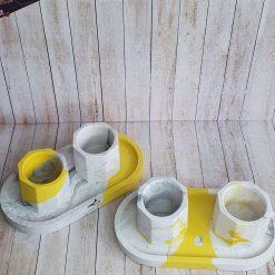 Jesmonite Pots/Tealight - grey marble and yellow