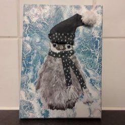Mixed Media Penguin Canvas