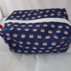 Wash bag/makeup bag in cupcake fabric including contents