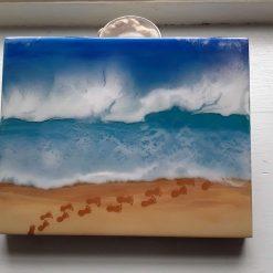 Acrylic painted and resin beach scene