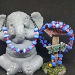 Cats Eye & Fuschia Agate Bead Set - S3-9