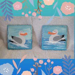 Fun hand painted seagull slate coasters