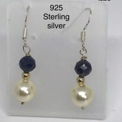 A251 Sapphire and Pearl earrings