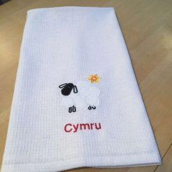 Cymru sheep tea towel