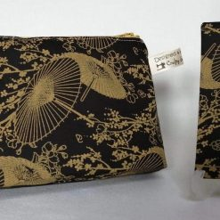 'Black & Gold' COSMETIC BAG Gift Set 👘 Chinese PARASOL Design 👘 inc. Pocket Tissue Pouch 👘 CHERRY BLOSSOM Decoration