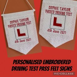 Embroidered Personalised Driving Test Pass Felt Signs