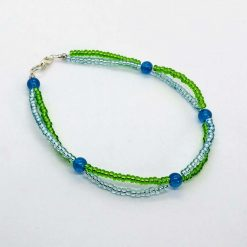 Beaded  lime green and turquoise twist anklet with aqua beads