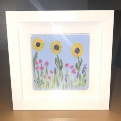 Hand painted Flowers white boxed frame picture lavender