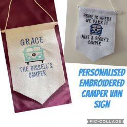Embroidered Camper Van Felt Hanging Signs