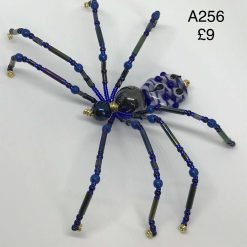 A256 Black and Blue beaded spider