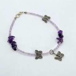 Beaded anklet with amethyst chips and butterflies