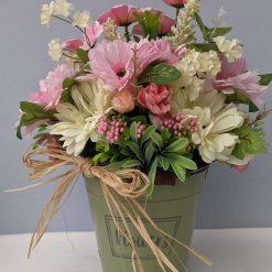 Beautiful Faux Flower arrangement in metal bucket