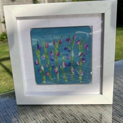 Hand painted flowers in white boxed frame sweetpeas