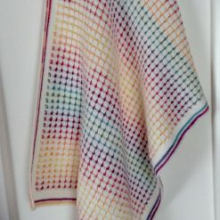 Crochet Rainbow and White Baby Blanket