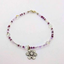 Beaded purple anklet with bubble beads and daisy dangle