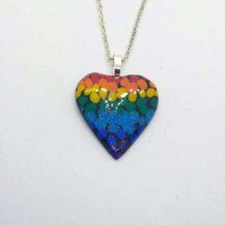 handmade polymer clay blended rainbow heart pendant