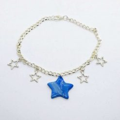 Starry night anklet with blue handmade star
